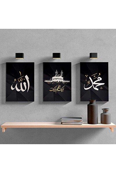 Dijital360 Allah Kabe Muhammed 3'lü Dini Ahşap Mdf Tablo
