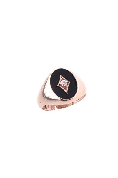 exist silver 925 Ayar Gümüş Swarovski Taşlı Kutupyıldızı Figürlü Siyah Mineli Ayarlanabilir Rose Yüzük