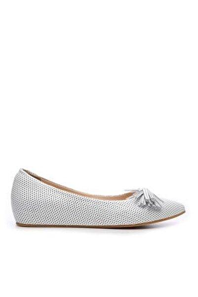 Hakiki Deri Beyaz Kadın Babet Ayakkabı 673 701 BN AYK Y19
