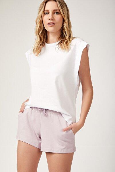 Kadın Beyaz Kolsuz Basic Örme T-Shirt Hf00135
