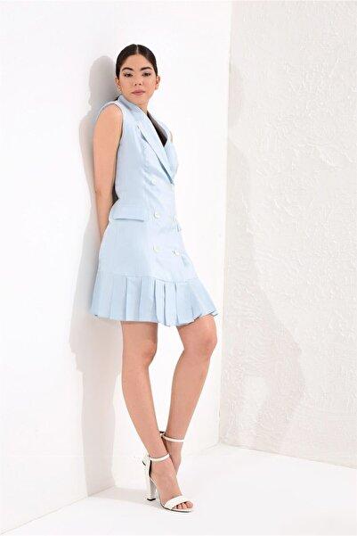 Kadın Kolsuz Kruvaze Kemik Dü��meli Etek Ucu Pileli Parlak Kumaş Ceket Elbise Bebe Mavi