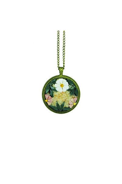 Emotion Handmade Doğal Taş Mozaik Çiçek Bahçesi Kolye N1052