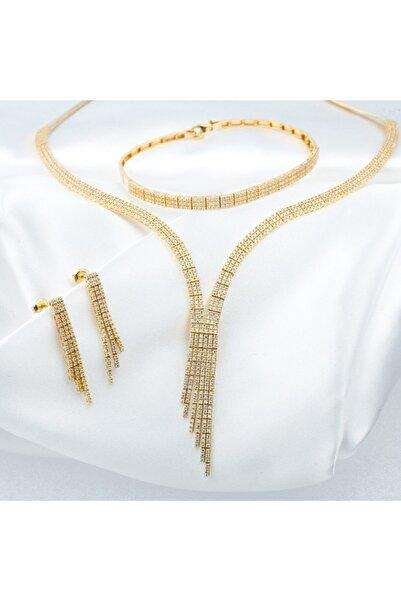 Bilezikci Üç Sıralı Suyolu Altın Takı Seti