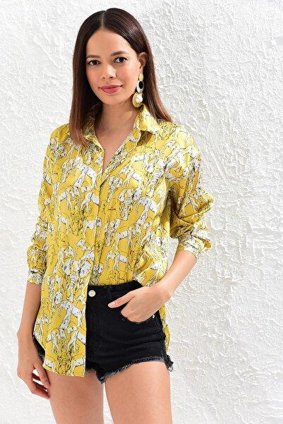 Kadın Sarı Fil Baskılı Saten Gömlek TEM24