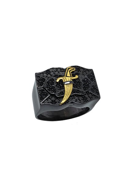 exist silver 925 Ayar Gümüş Siyah Swarovski Taşlı Hançer Motifli Siyah Rodajlı Erkek Yüzük