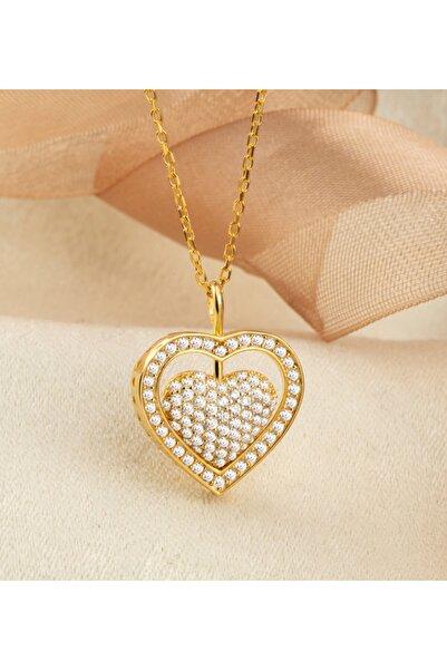 Linterna Silver Gümüş Zirkon Taş Süslemeli Kişiye Özel Isimli Kalp Kolye (zincir 45 Cm)