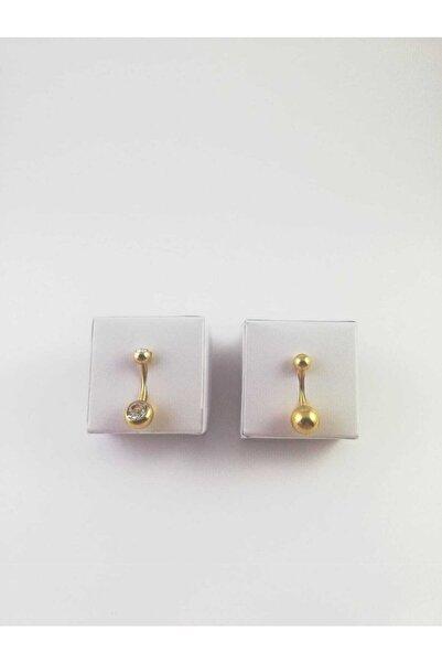 316l Cerrahi Çelik Gold Renk Zirkon Taşlı 2 Renklik Göbek Piercing Set