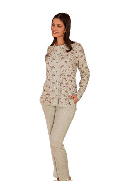 Mecit Pijama 5265 Büyük Beden Çiçek Desenli Önden Açık Pijama Takımı -turkuaz