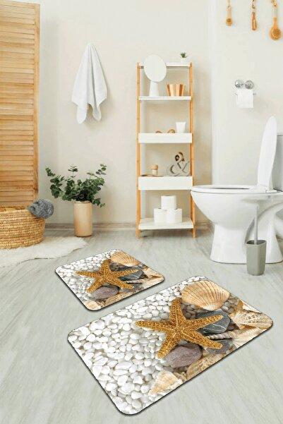 RugViva Dijital Banyo Halısı Klozet Takımı 2'li Paspas Seti Bs209 60x90cm + 60x60cm