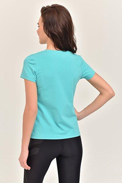 Yeşil Likralı Pamuklu Kadın T-Shirt EW-3006