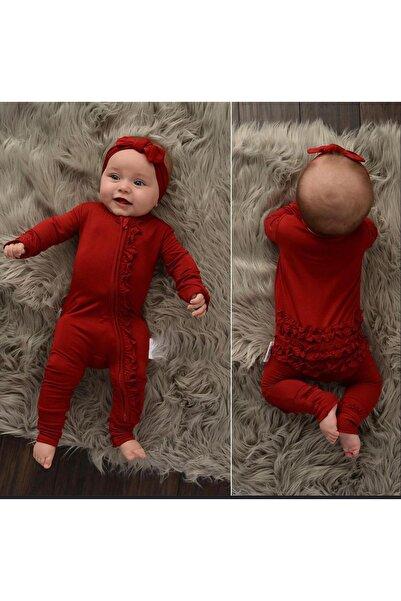 Fırfırlı Bandanalı Bebek Tulum - Bordo