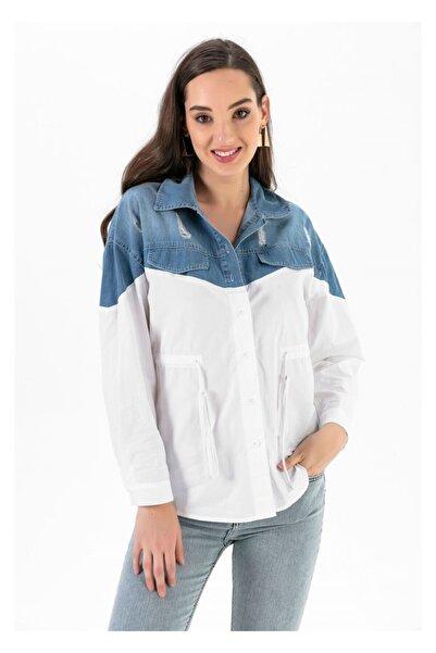Tiffany A0222 Üstü Kot Eskitmeli Gömlek