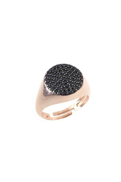 exist silver 925 Ayar Gümüş Siyah Swarovski Taşlı Rose Ayarlanabilir Tasarım Yüzük