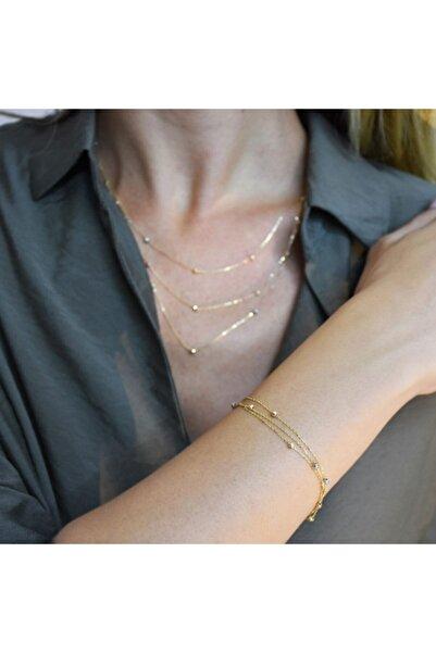 PinkGoldStore Dorikalı Üçlü Zincir Sarı Altın Bileklik