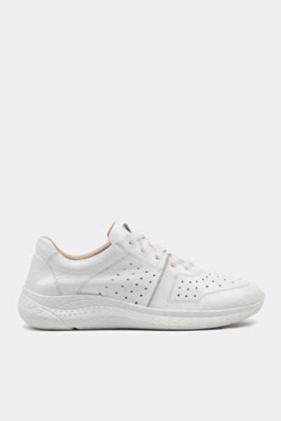 Hakiki Deri Beyaz Kadın Spor Ayakkabı