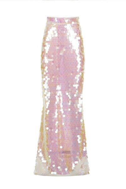 Meltem Özbek Payetli Uzun Beyaz Etek