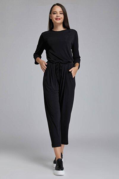 Gusto Kadın Siyah Beli Lastikli Jarse Pantolon 20KG009114
