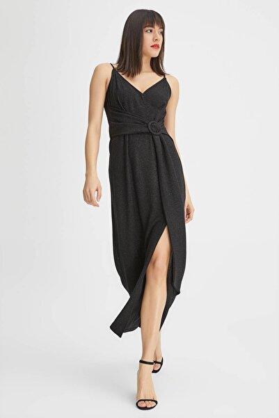 Kadın Siyah Simli Uzun Elbise 20YG001309