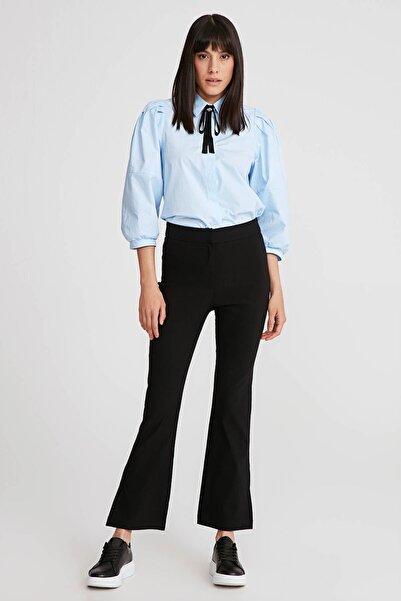 Gusto Kadın Siyah Yırtmaçlı Lycra Pantolon 20YG001127