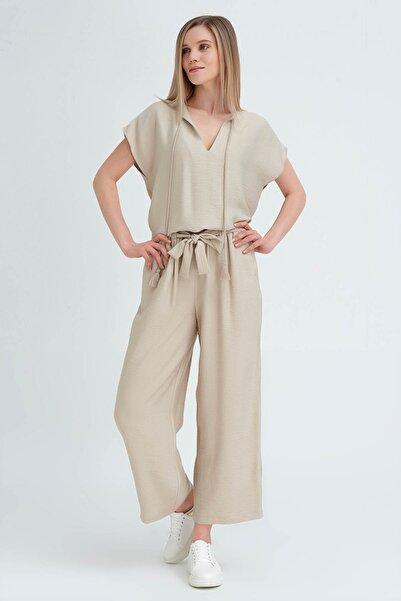 Kadın Taş Bol Paçalı Keten Pantolon 20YG001102