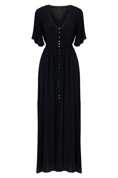 Kadın Siyah Önü Düğmeli Uzun Elbise 20YG001311