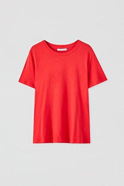 Kadın Kırmızı Kısa Kollu Basic T-Shirt 05244357