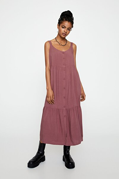 Pull & Bear Kadın Koyu Pembe Volanlı Askılı Midi Elbise 05391324