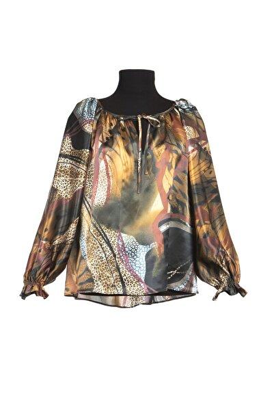 Ayşen Armağan A2 Kadın Desenli Ipek Bluz