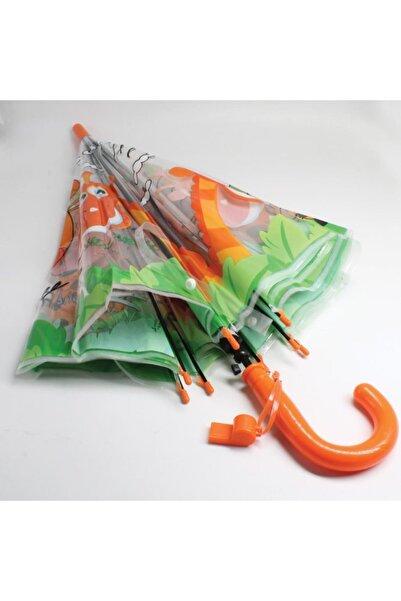 buradanaldım Çocuk Şemsiyesi Düdüklü Turuncu Renk Zürafa Model