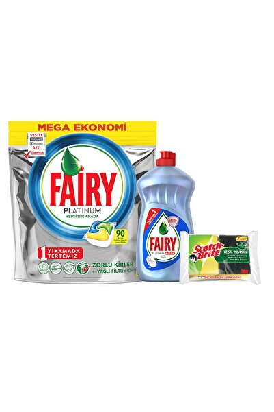 Fairy Platinum 90 Yıkama Tablet Limon Kokulu+Platinum 500 ml Bulaşık Deterjanı Hijyen+Sünger 8681002974784