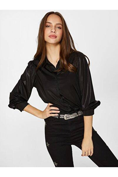 Faik Sönmez Kadın Siyah Parlak Gömlek 60427 u60427