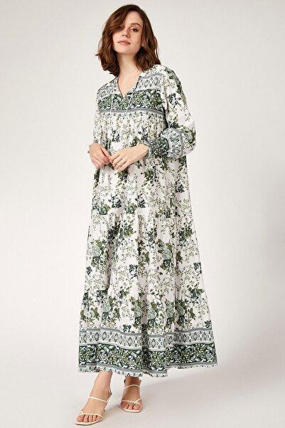 Bigdart 1947 Kol Büzgülü Robalı Çiçek Desenli Elbise