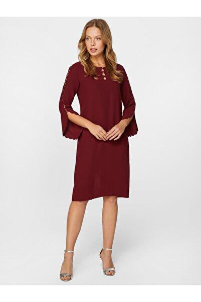 Faik Sönmez Kadın Bordo Taş İşlemeli Abiye Elbise 60114 U60114