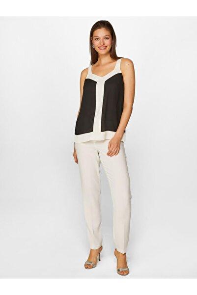Faik Sönmez Kadın Siyah Renk Bloklu Bluz 60132 U60132