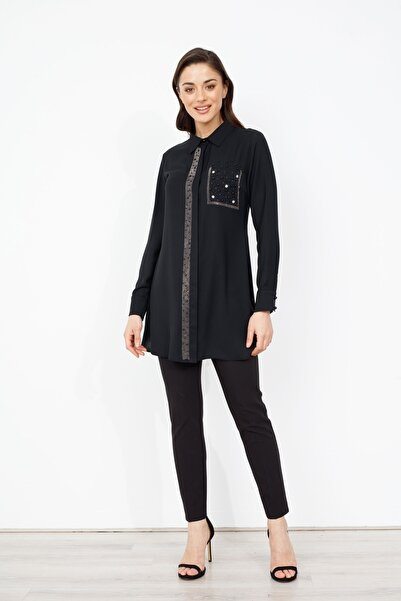 Moda İlgi Kadın Siyah Pat Ve Cebi Taşlı Gömlek