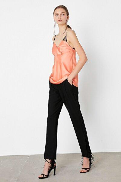 İpekyol Kadın Turuncu Dantel Mixli Saten Bluz IS1200006174019