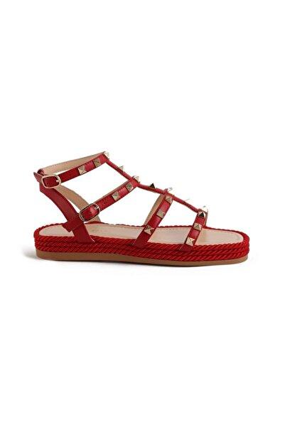Sofia Baldi Cıclamıno Kırmızı Deri Pimli Kadın Düz Sandalet
