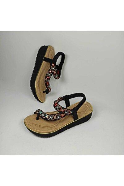 Guja Deriland Siyah Parmak Arası Günlük Kadın Sandalet