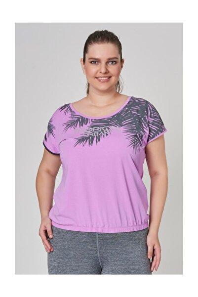 Büyük Mor Beden Pamuklu Kadın  T-Shirt DW-2133