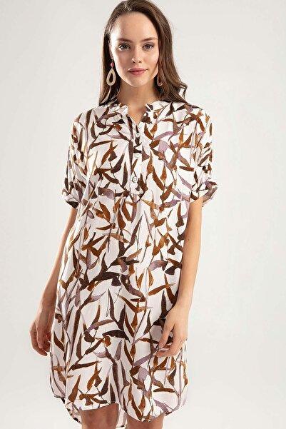 Y-London Kadın Kahve Yarı Düğmeli Duble Kol Çiçekli Elbise Y20S110-1560-1