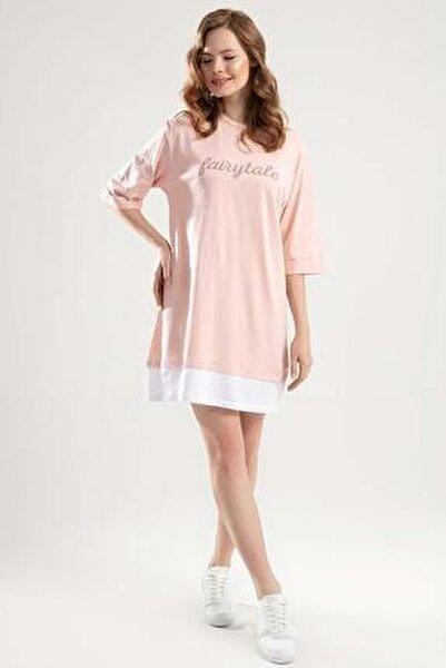 Kadın Pudra Duble Kol Biyeli Tişört Elbise Y20S110-4155