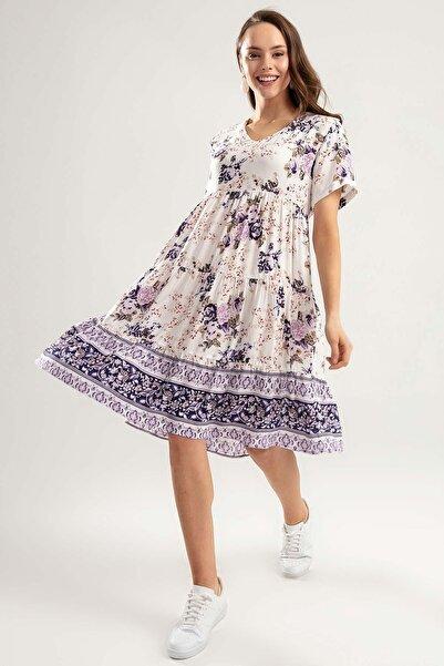 Y-London Kadın Lila Kısa Kol Çiçekli Elbise Y20S110-1957
