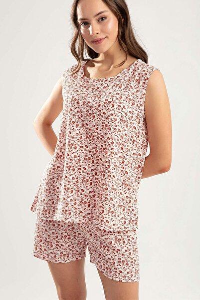 Y-London Kadın KIRMIZI Sıfır Kol Atlet Şort Çiçekli Pijama Takımı Y20S110-6478-1