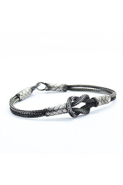 KSG Gemici Düğümü Özel Tasarım El Örmesi 1000 Ayar Kazaziye Gümüş Bileklik