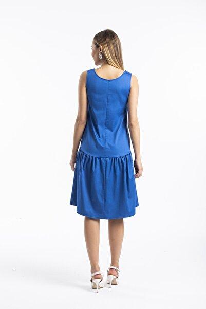 Kadın Bol Kesim Kolsuz Denim Elbise