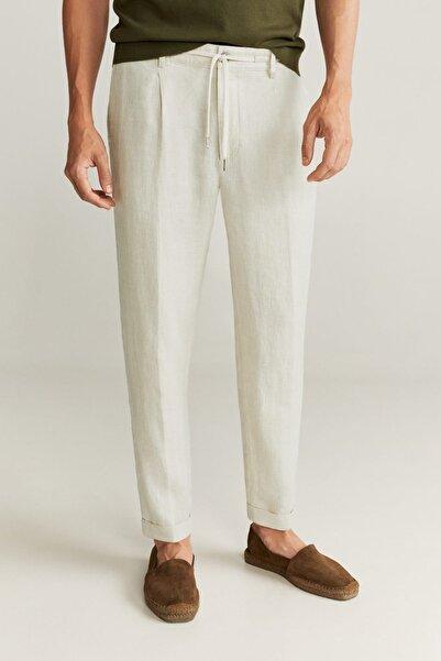 MANGO Man Erkek Ekrü %100 Keten Pantolon  77001004