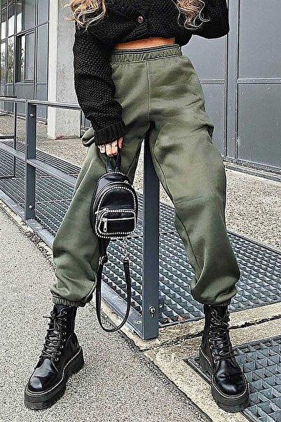Madmext Mad Girls Haki Paça Lastikli Oversize Kadın Eşofman MG324