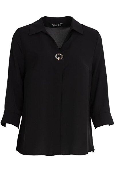 AYHAN Gömlek Yaka Bluz - 81285 Siyah