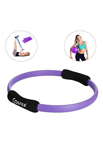 Cosfer Sportif Pilates Çemberi - Pilates Bandı ve Denge Topu - 3 lü Pilates Seti - MOR