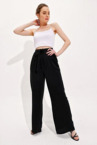 Trend Alaçatı Stili Kadın Siyah Bol Paça Viscon Pantolon Alc-X4354